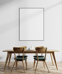 White dining room, wooden table, poster