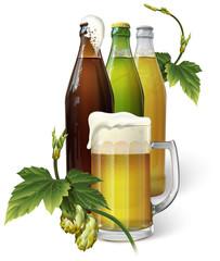 Beer mug, hops, three beer bottles