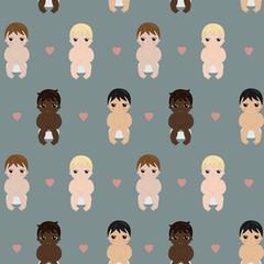 Seamless pattern cartoon babies, vector