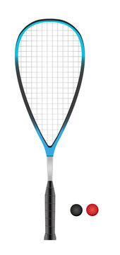Vector squash or racketball racket and two balls - sport equipment