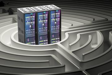 Computer Server Racks inside labyrinth maze, 3D rendering