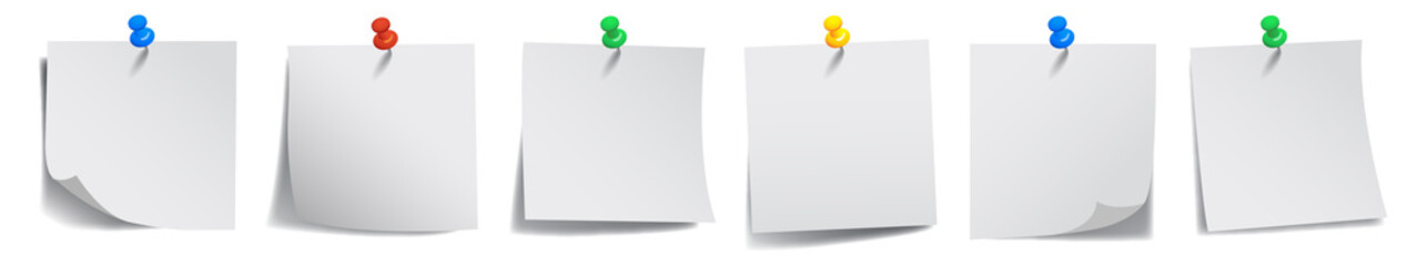 Set white sticky papers - vector