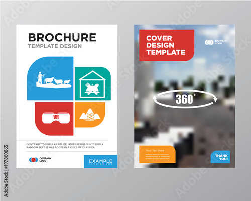 360 Degree Brochure Flyer Design Template With Abstract Photo