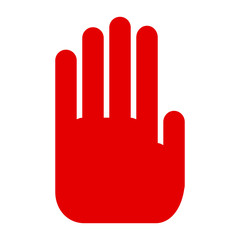 Red hand, stop sign icon - stock vector