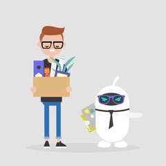 Upset employee fired by a robot. Competition between human brain and artificial intelligence. Technology. Concept. Flat editable vector illustration, clip art
