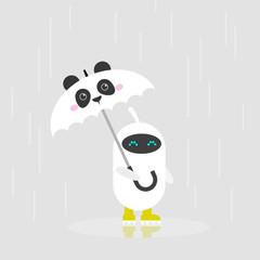 Cute white robot holding an umbrella with panda muzzle / flat editable vector illustration, clip art