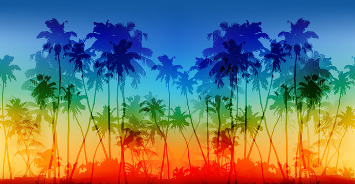 Rainbow colors palms silhouettes vector vintage seamless background