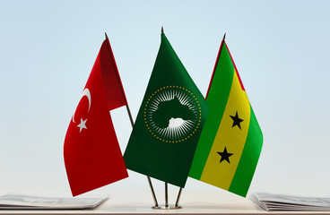 Flags of Turkey African Union and Sao Tome and Principe