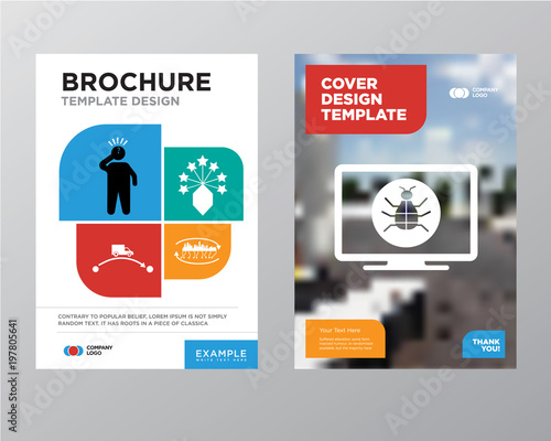 Software Bug Brochure Flyer Design Template With Abstract Photo