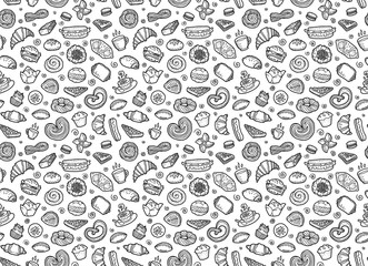 Estores personalizados con tu foto Sweet pastry, coffee and tea cups - European breakfast vector seamless pattern