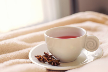 a beautiful white cup of tea with anise flower  on the blanket in the morning
