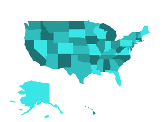 Blank map of United States of America, USA, divided into states in four shades of turquoise blue. Simple flat vector illustration on white background.