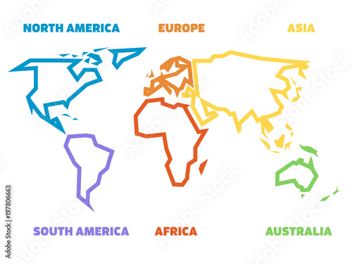Simplified Thick Outline Of World Map Divided To Six Continents