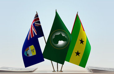 Flags of Saint Helena African Union and Sao Tome and Principe