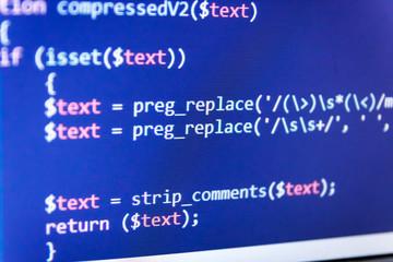 Big data storage and cloud computing representation. Digital binary data on computer screen. Digital technology on display. Hacker api text on the computer screen.