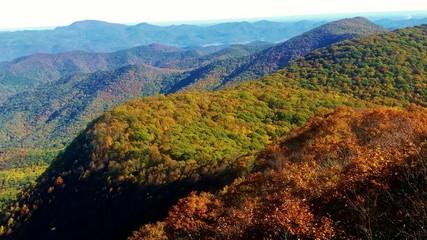 Autumn Day on Albert Mountain, Appalachian Trail in Western North Carolina