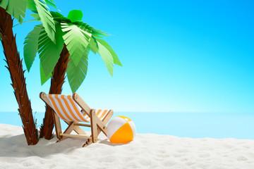 Sun lounger and beach ball under a palm tree on the sandy coast. Sky with copy space