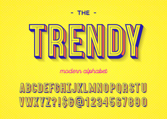 Font trendy colorful 3d typography sans serif style for t shirt, promotion, party poster, kids book, greeting card, sale banner, printing on fabric, decoration, stamp, offer. Vector Illustration Fotoväggar