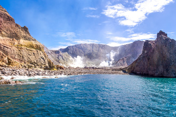 Active Volcano at White Island New Zealand. Volcanic Sulfur Crater Lake