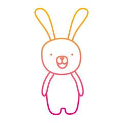 degraded line cute cartoon rabbit male animal