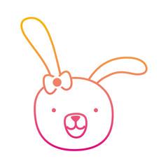 degraded line cartoon rabbit female head with ribbon bow