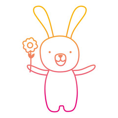 degraded line cartoon rabbit animal with flower in the hand