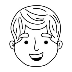 line profile man head with hairstyle design