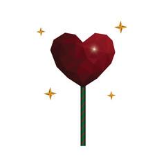 Heart love polygon geometric lollipop sweet food flat design icon vector illustration.