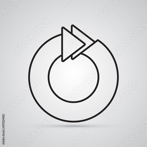 Carved Silhouette Flat Icon Simple Vector Design Circle With 2