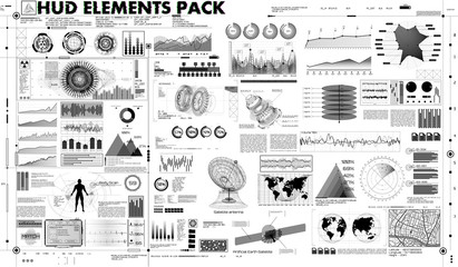 set of black and white infographic elements. Set abstract HUD elements for UI UX design (business, medicine, forex, finance, analytics) Statistic and data, sci infographic. Template Head-up display