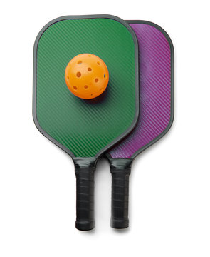 Pickleball Paddles with Ball on White