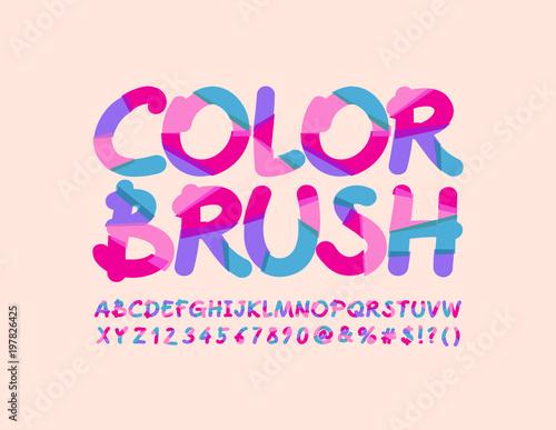 Vector Artistic Design Banner Color Brush Bright Sliced Font