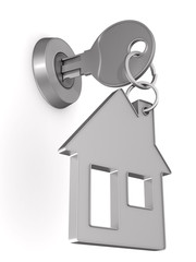 key and trinket house on white background. isolated 3d illustration