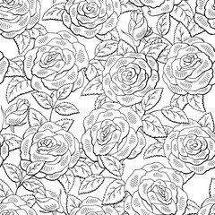 Rose flower graphic black white seamless pattern sketch background illustration vector