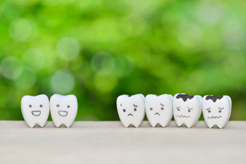 Decayed teeth model and good teeth for dental health care concept