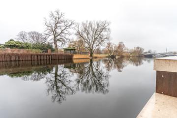 Havelufer in Potsdam an einem nebligen Morgen im Frühjahr