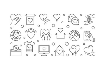 Fundraising and charity vector outline illustration