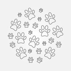 Paw Prints round minimal vector line illustration
