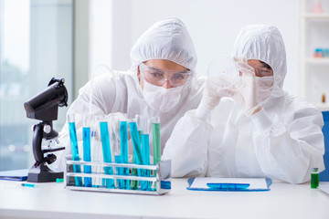 Two scientists working in the chemical lab