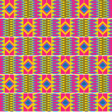 Colorful African print. Cloth kente. Seamless pattern.