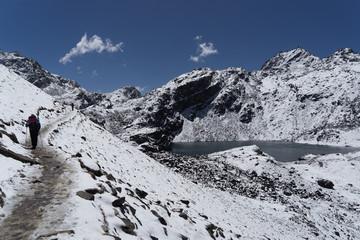 Snow mountains peak in Nepal Himalaya