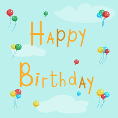 Happy birthday greeting card with balls on a background of blue sky and clouds