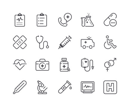 Minimal Set of Medical and Health Line Icons. Editable Stroke.
