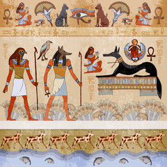 Ancient Egypt. Grunge Egypt seamless murals background. Hieroglyphic carvings on the exterior walls of an ancient egyptian. Egyptian gods and pharaohs