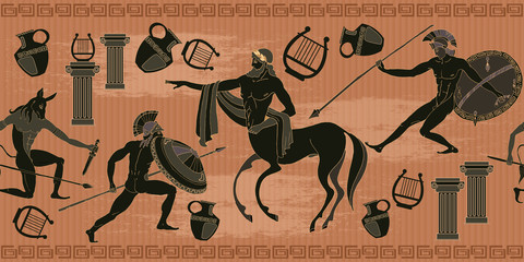 Ancient Greece scene seamless pattern. Black figure pottery. Ancient Greek mythology. Centaur, people, gods of an Olympus. Classical Ancient Greek pattern
