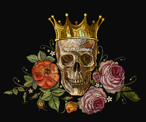 Embroidery golden crown, skull and red roses. Dia de muertos, day of the death art. Gothic romanntic embroidery human skulls, crown and red roses and pink peonies, clothes template and t-shirt design