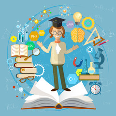 Education background. Open book knowledge. Back to school student school board vector illustration