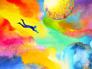 man flying in abstract colorful dream universe illustration watercolor painting design hand drawn