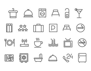 Set of Hotel Icons Vector Pixel Perfect 48x48 Editable Stroke
