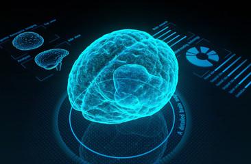 Holographic human brain in virtual reality. Futuristic diagnostic in medicine. 3d illustration.